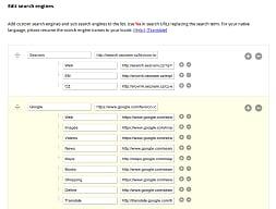 Ukázka nastavení skupin a vyhledávačů