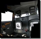 Inside a black taxi