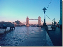 The bridge and the Thames on a sunny December day