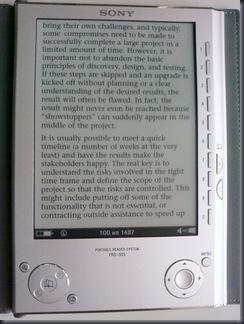Sony PRS-505 - PDF max zoom in Reflow mode