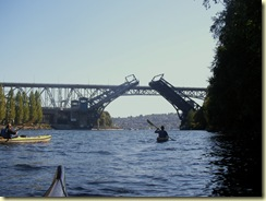 Fremont bridge raised for a boat